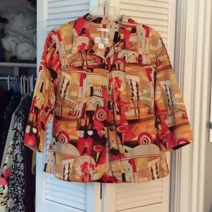Colorful print, 3/4 sleeve jacket